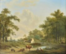 Pieter Gerardus Van Os (Dutch 1776-1839), Cattle and livestock by a country cottage