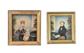 Attributed to Deborah Goldsmith (American 1808-1836), A pair of family portraits