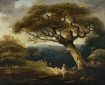 Follower of John Crome the Elder, Figure beneath a tree with a cottage beyond