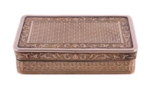 A French silver double gilt rounded rectangular snuff box