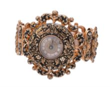 A gold coloured and Swiss enamel bracelet watch