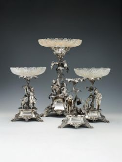 A Victorian suite of four silver centre pieces by John, Edward, Walter & John Barnard