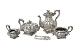 Y A George IV silver melon shape tea and coffee service by Edward Barnard partnerships