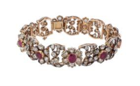 An early 20th century Burma ruby and diamond floral bracelet