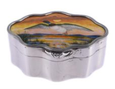 A late Victorian silver and enamel shaped oval box by Child & Child (Harold Child)