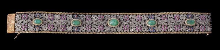 A 1930s Italian diamond, sapphire, emerald and ruby bracelet