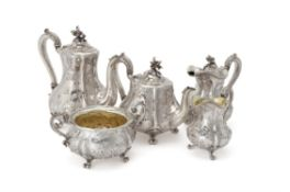 Y An early Victorian silver five piece baluster tea and coffee service by John Samuel Hunt