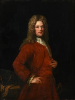 English School (18th century), Portrait of a gentleman in a red tunic and jacket