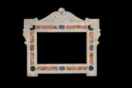A substantial Italian Carrara marble and specimen marble inlaid frame