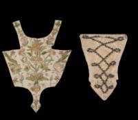 An embroidered stomacher panel
