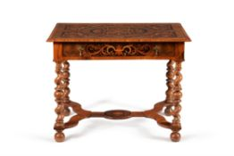 A fine William & Mary walnut oyster veneered and marquetry side table