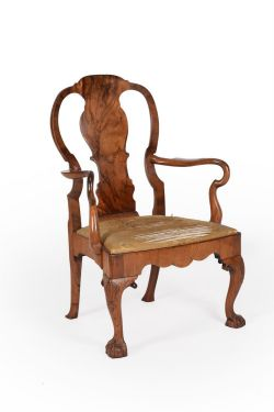 A George II walnut open armchair