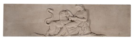 A carved Portland stone panel