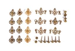 A large quantity of gilt metal door furniture