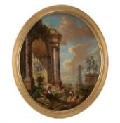 Manner of Giovanni Paolo Panini, Capriccio of classical ruins in a landscape with figures and an equ