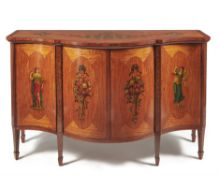 Y A Victorian satinwood, tulipwood and polychrome painted side cabinet