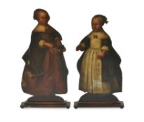 Two painted dummy boards, , the painted decoration 17th century, oak supports 19th century