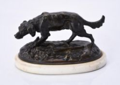 A French patinated bronze model of a hunting dog, late 19th century