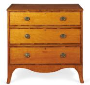 Y A George III satinwood and rosewood crossbanded chest of drawers