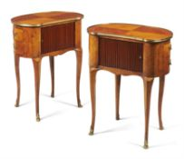 Y A pair of tulipwood and kingwood side tables