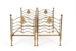 An unusual Victorian gilt brass double bed frame