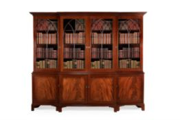 A George III mahogany breakfront library bookcase