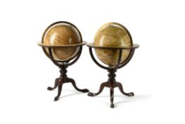 A fine pair of Victorian 12 inch library table globes