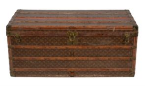 Louis Vuitton, a monogrammed canvas, oak, and brass mounted steamer trunk