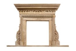 A stone composition fireplace surround in George II taste