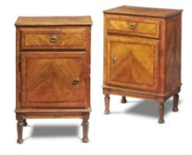 A pair of Italian walnut bedside cabinets, late 18th century