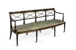A George III black lacquer and painted chair back settee