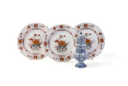 Three North Italian faience polychrome chinoiserie plates painted in the manner of Cozzi porcelain