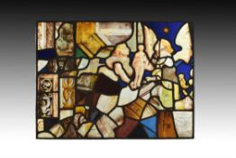 A French or Flemish composite stained glass panel