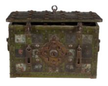 A rare painted iron Armada chest