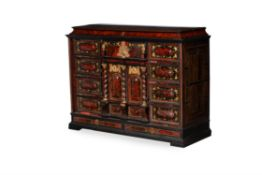Y A Continental scarlet tortoiseshell, rosewood, ebonised and gilt metal mounted cabinet