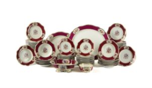 A Chamberlain's Worcester claret-ground armorial part dinner service