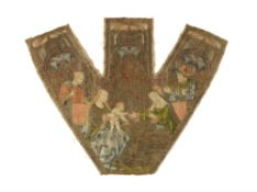 A fine Flemish or French silk and metal thread embroidered fragment of a chasuble panel