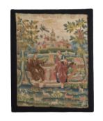A fine George II Biblical needlework picture of Christ and the Samaritan woman