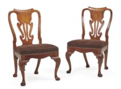 A pair of George II 'red walnut' side chairs