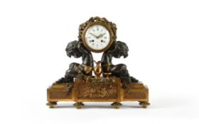 A French Napoleon III ormolu and patinated bronze figural mantel clock