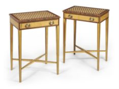 Y A pair of satinwood and specimen parquetry side tables
