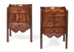 A pair of George III mahogany bedside commodes