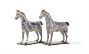 Two similar pearlware models of dappled grey horses of St. Anthony's Pottery type