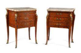 A pair of burr walnut, mahogany and gilt metal mounted petit commodes or bedside chests