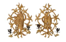 A pair of fine George III giltwood and metal mounted wall sconces