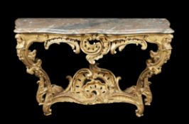 A Louis XV giltwood console table