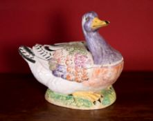 A Continental Faience duck tureen and cover