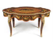 A French kingwood, ebonised, marquetry and gilt metal mounted centre table, by Bassie & Co