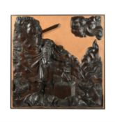 A North European sculpted and stained oak relief with the Sacrifice of Isaac