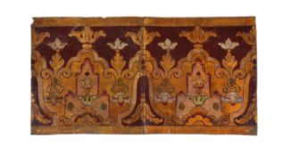A set of eight Italian crimson ground, gilt, silvered and tooled leather wall panels